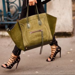 CÉLINE, A Dark Green Medium Phantom Tote bag.